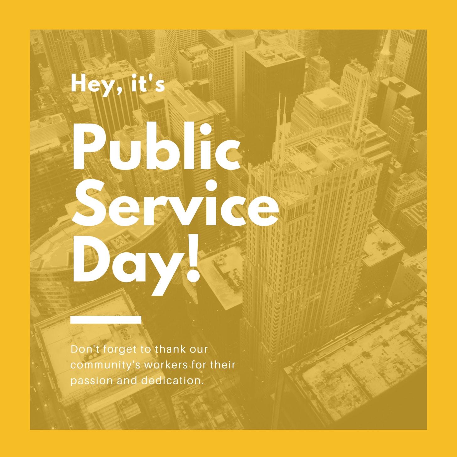 Yellow City Photo Public Service Day Social Media Graphic