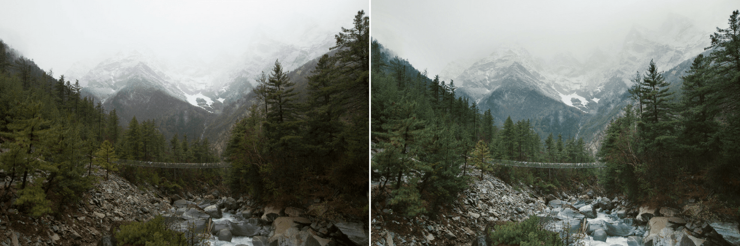 Mountains and river before and after