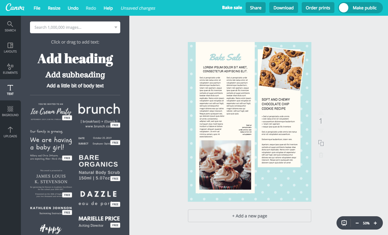 Canva add text to frames