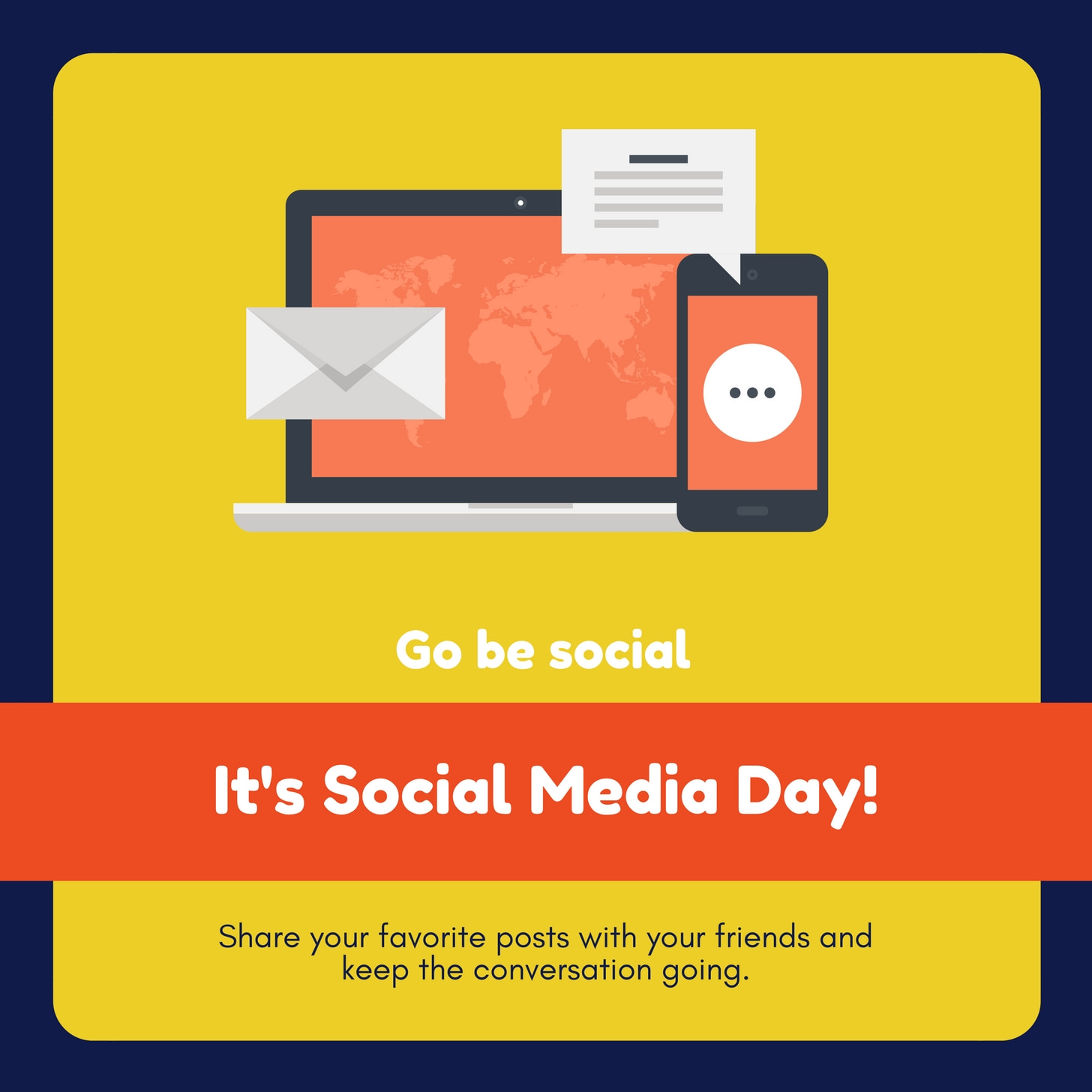 Yellow and Blue Laptop Icon Social Media Day Social Media Graphic