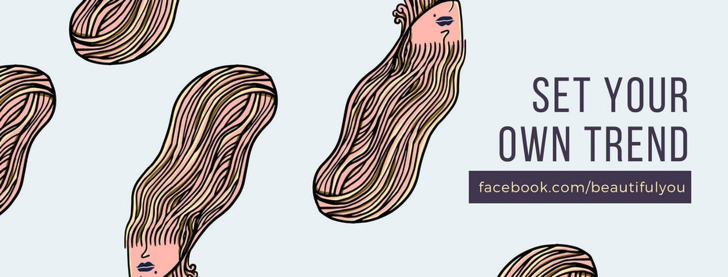 Blue Peach Funky Hairstyle Fashion Facebook Cover