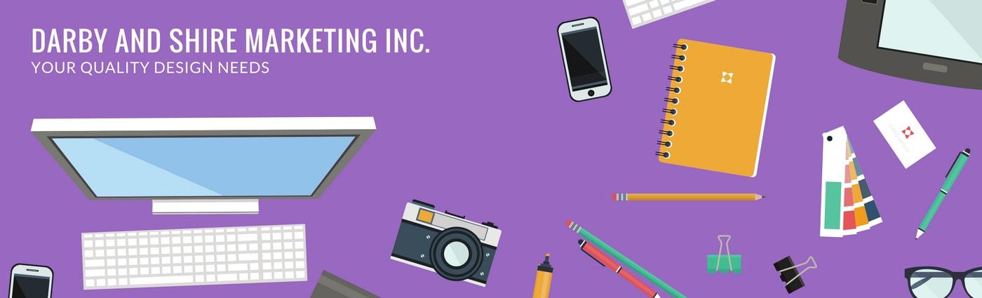 Purple with Flatlay Vector Illustrations General Linkedin Banner