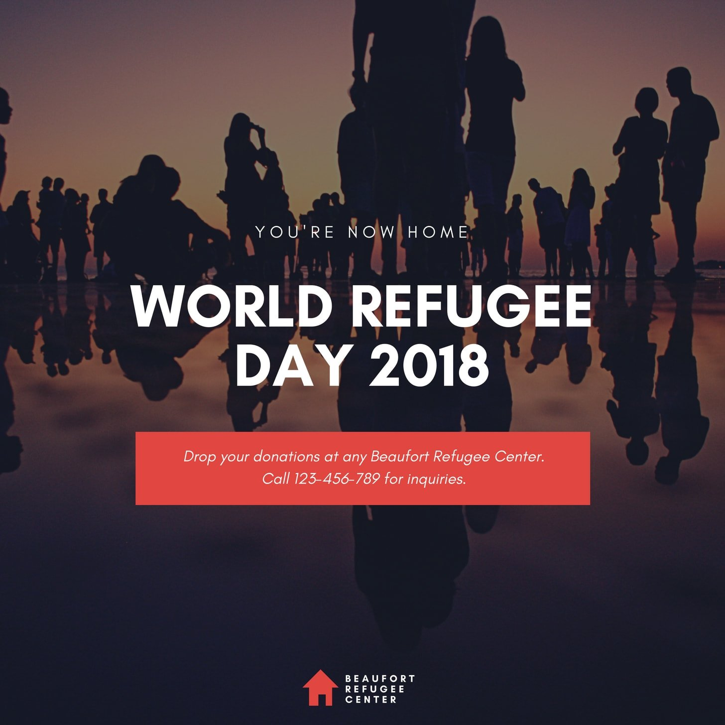 Red Text Overlay World Refugee Day Social Media Graphic