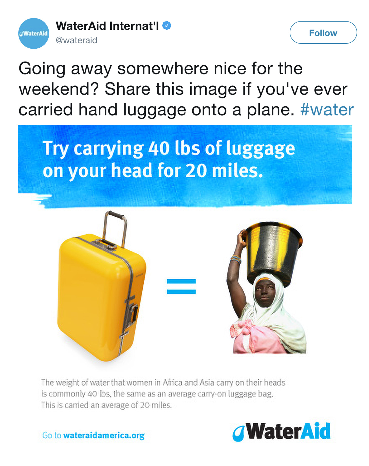 WaterAid Twitter post