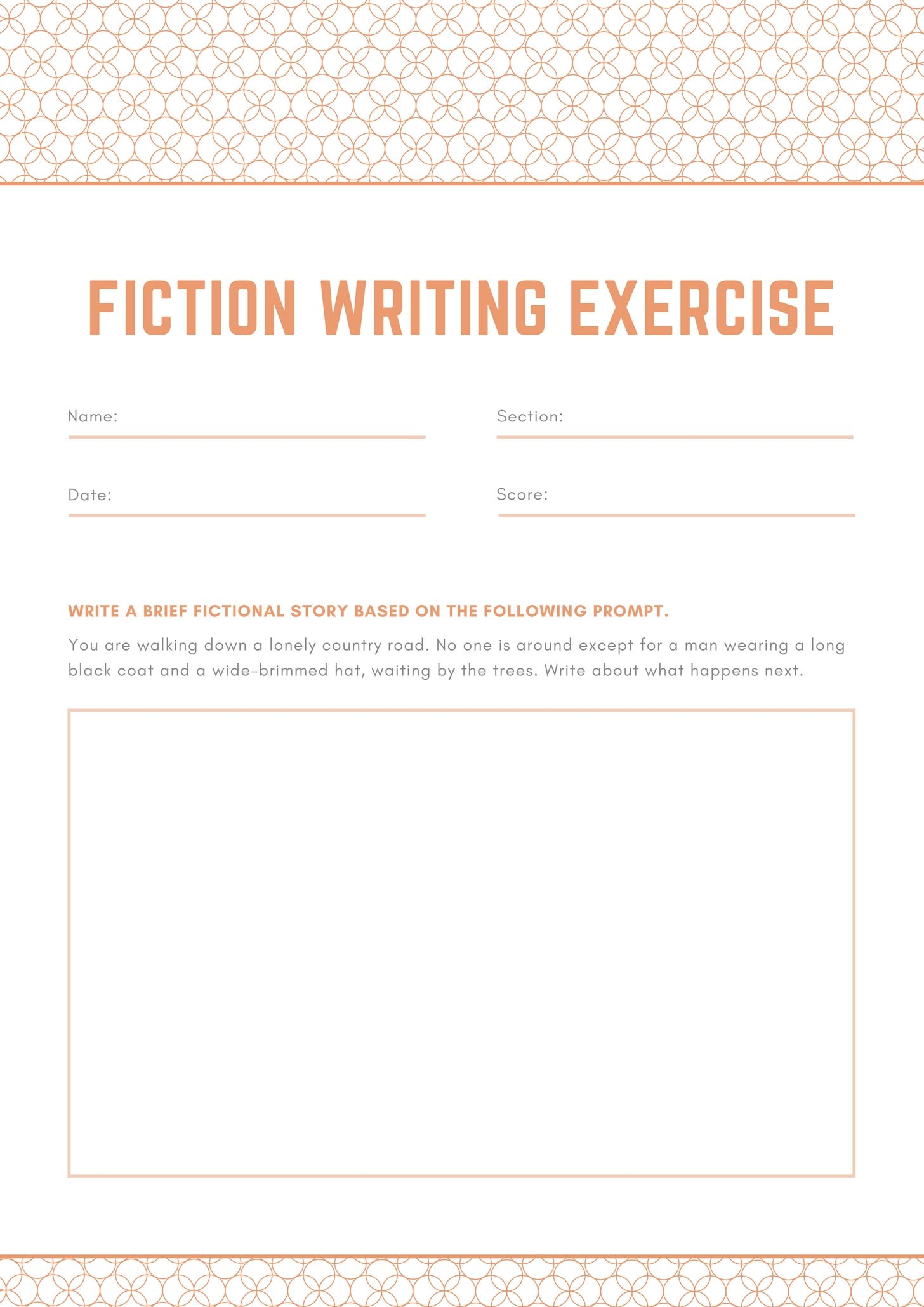 Orange and Gray Patterned Writing Prompt Worksheet