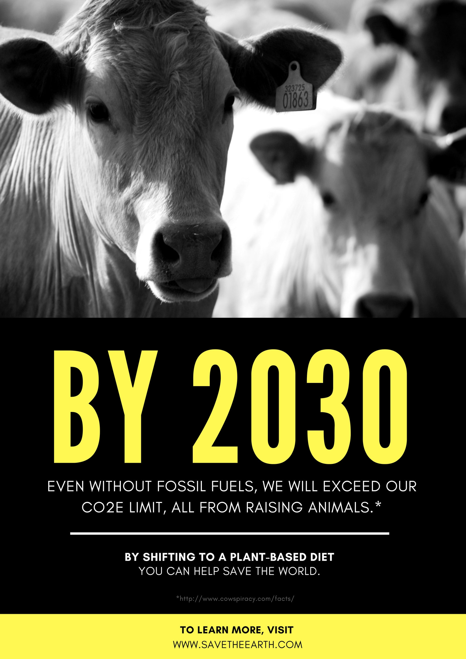 Yellow and Black Global Warming Animal Agriculture Awareness Poster