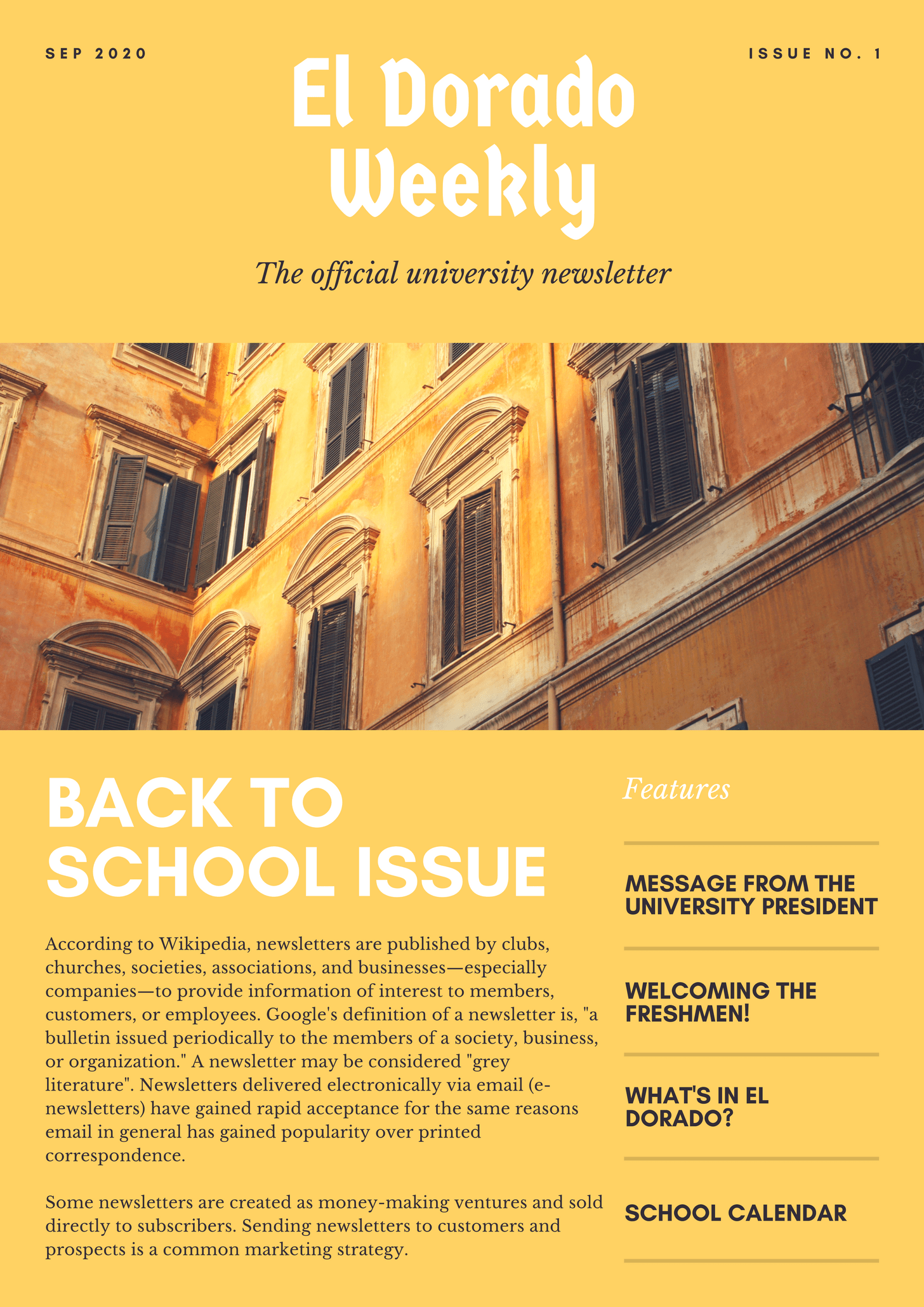 Yellow Photos Back to School Newsletter