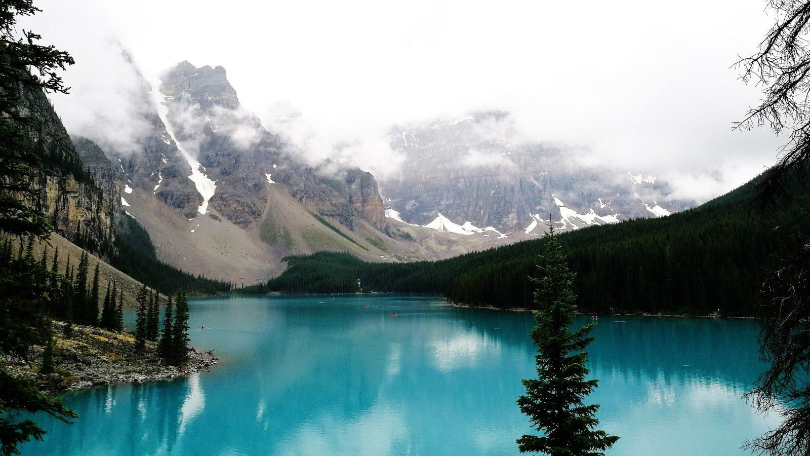 Blue lake and mountains by Danyu Wang