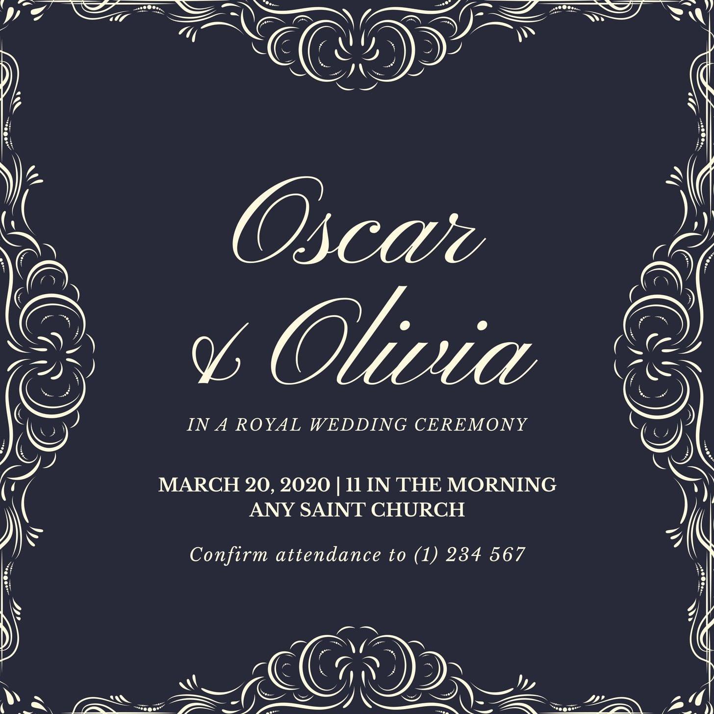 Black Rock Ornament Royal Wedding Invitation