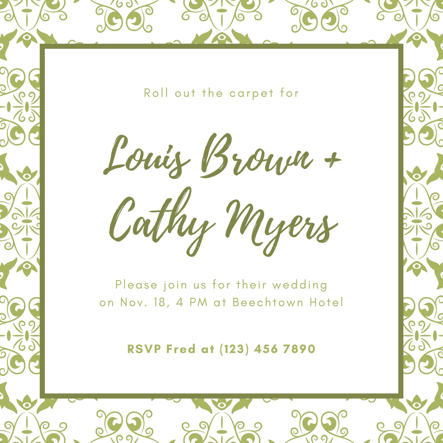 Green Paisley Royal Wedding Invitation