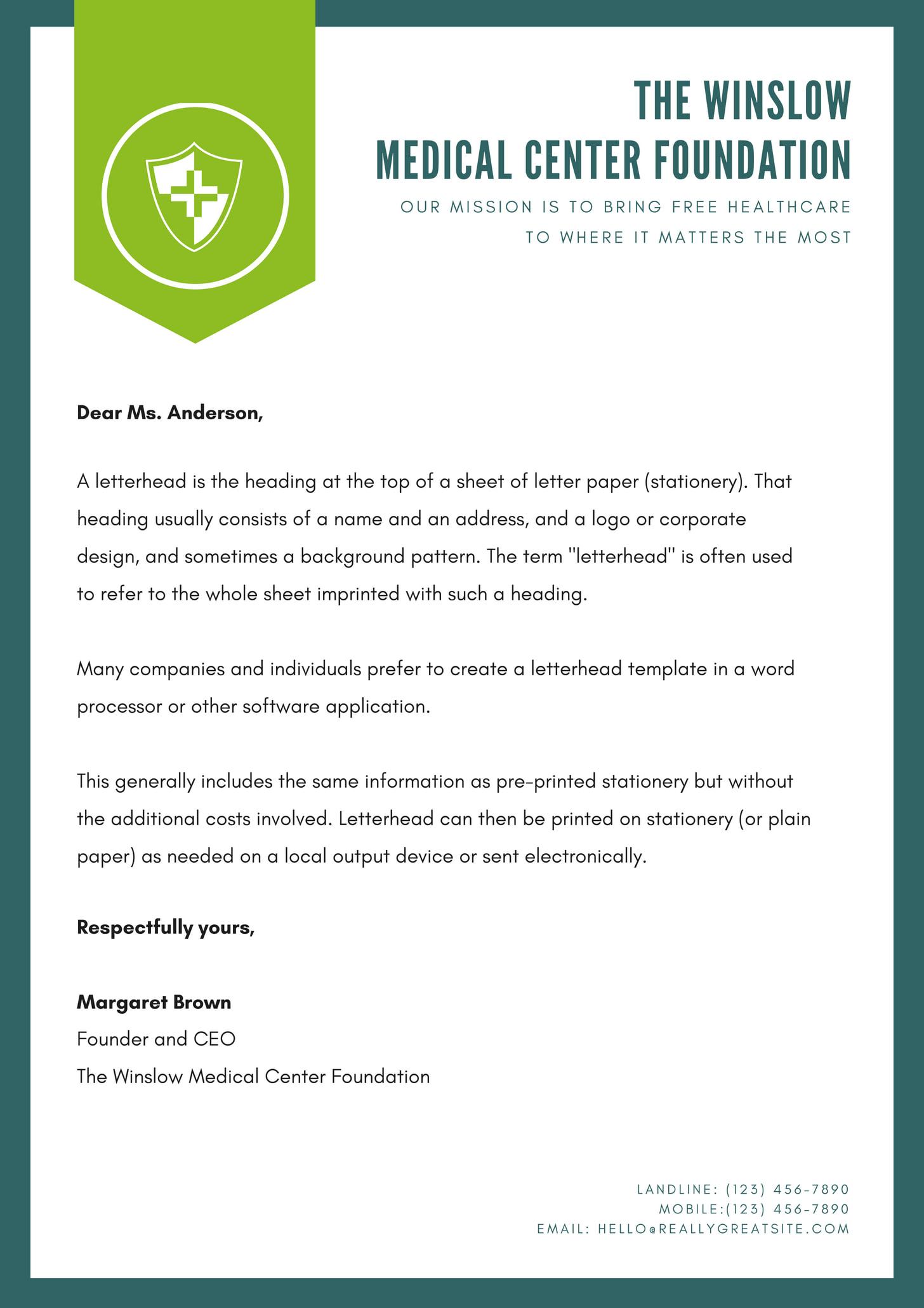 Green Formal Charity Letterhead