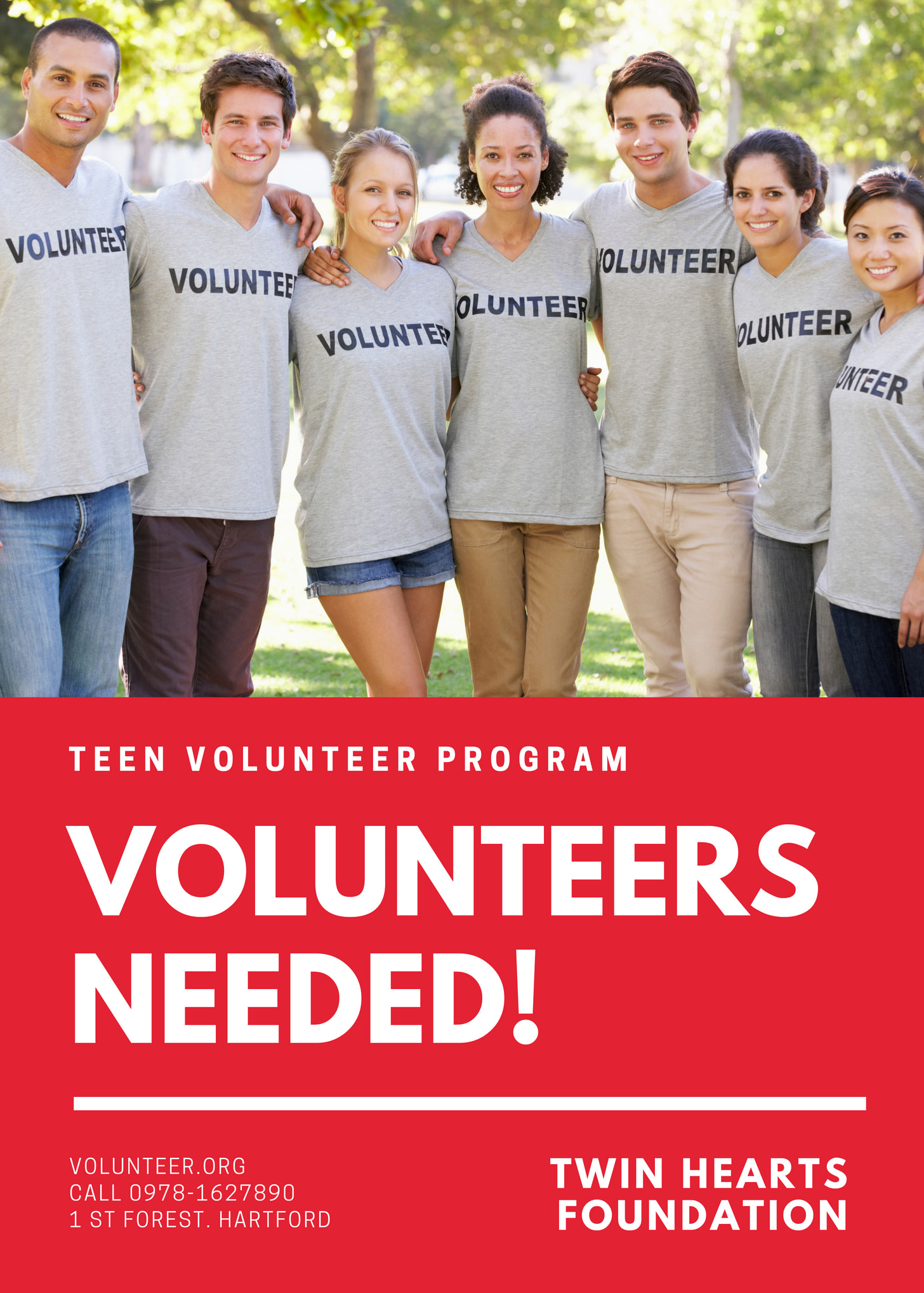 Red and White Youth Photo Volunteer Flyer