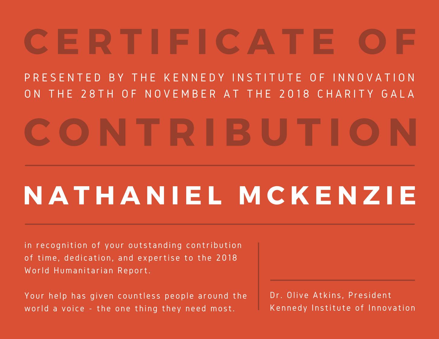 Orange Contribution Certificate