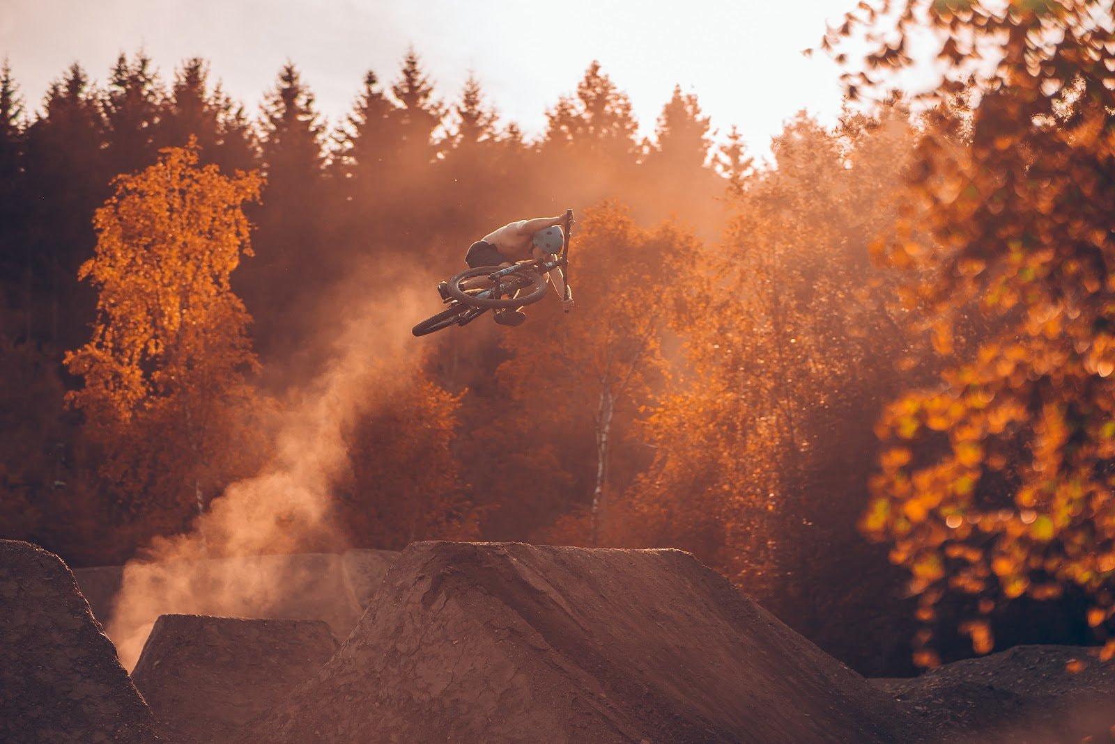 Shot of a biker in the air by David Henrichs