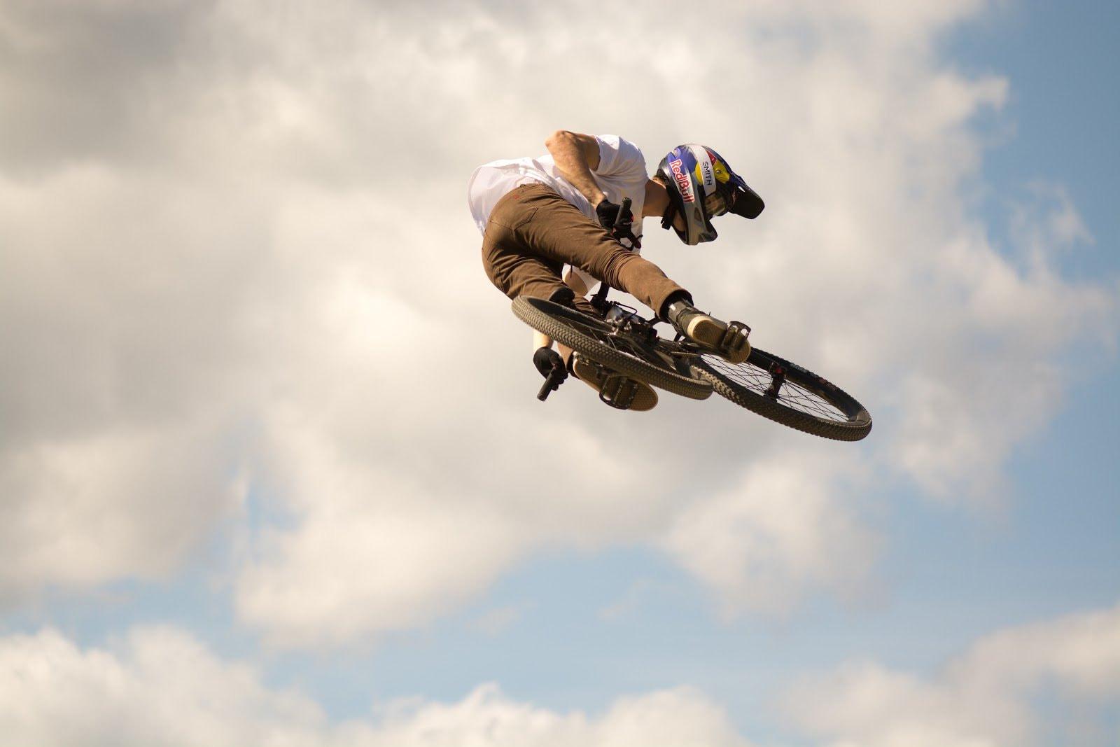 Biker aerial shot by Pamela Saunders