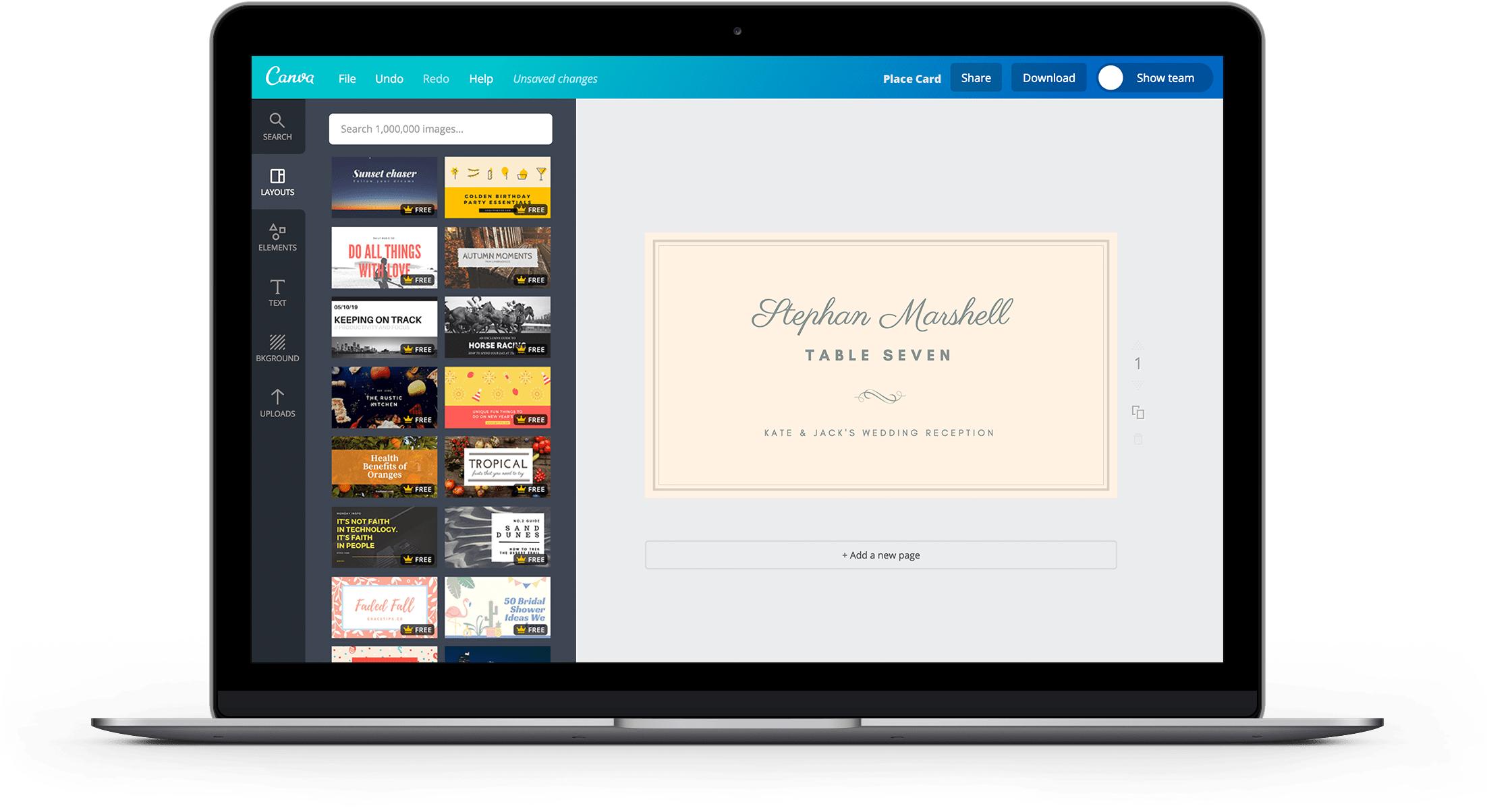 Place Card Landing Page