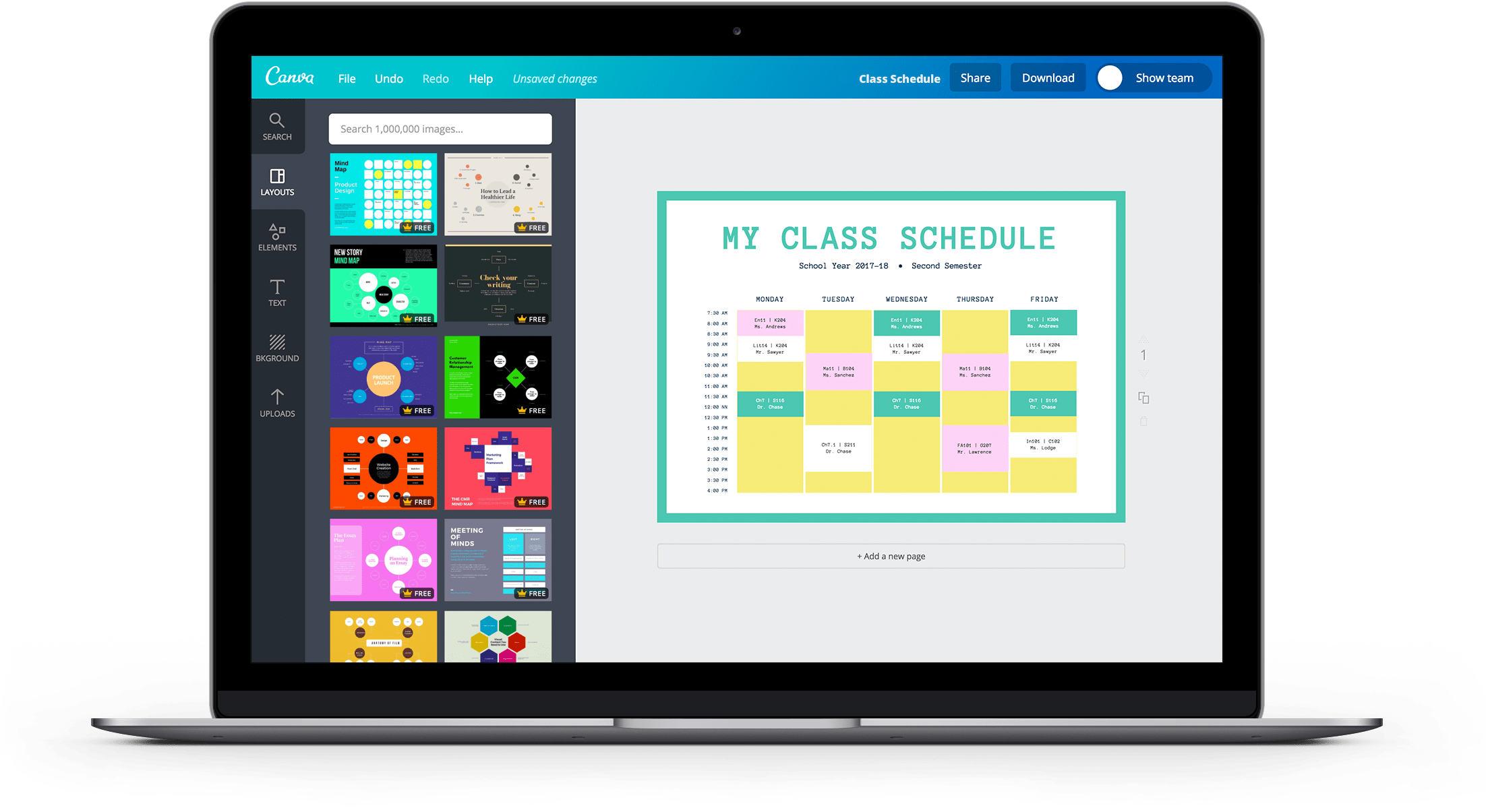 Class Schedule Landing Page