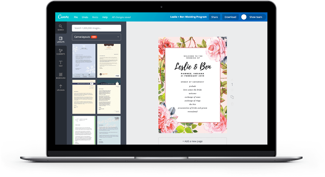 Free Online Wedding Program Maker Design A Custom Wedding Program Canva
