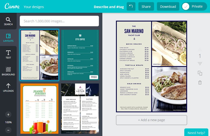 Create an Restaurant Menu in Canva