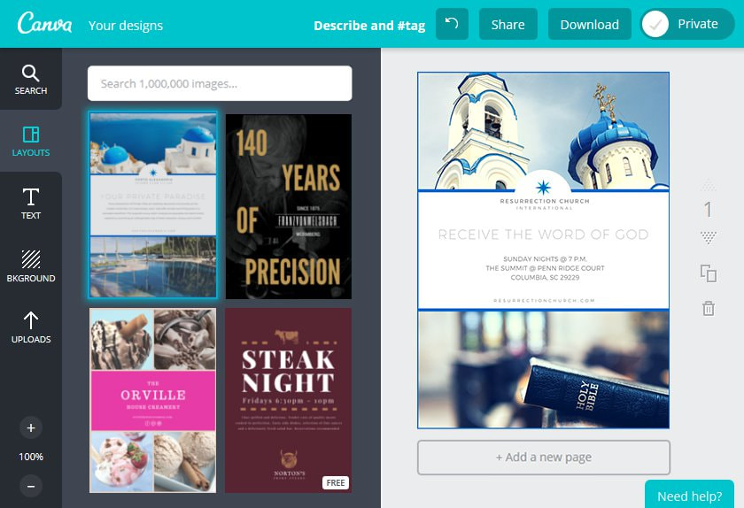 Create a Church Flyer in Canva