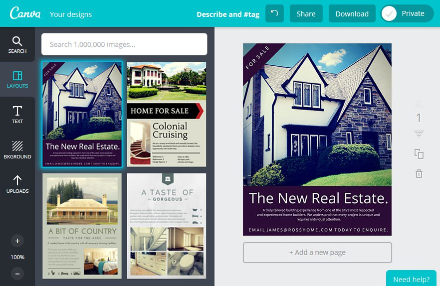 Create an Real Estate Flyer in Canva