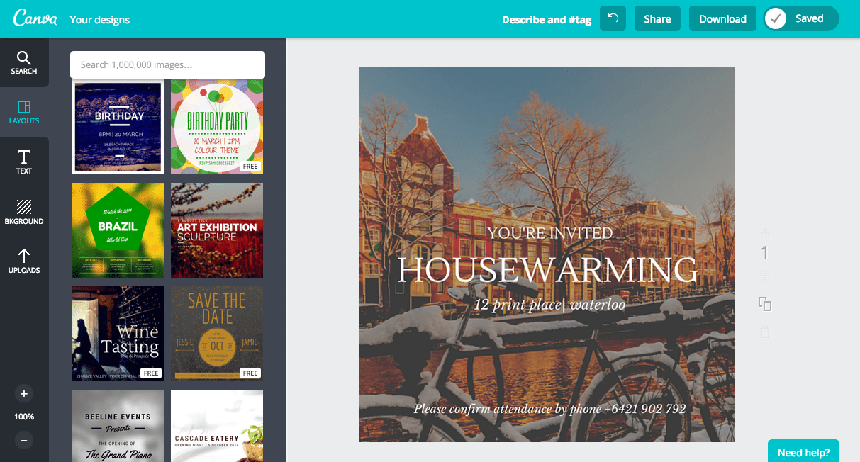 Create a housewarming invitation in Canva
