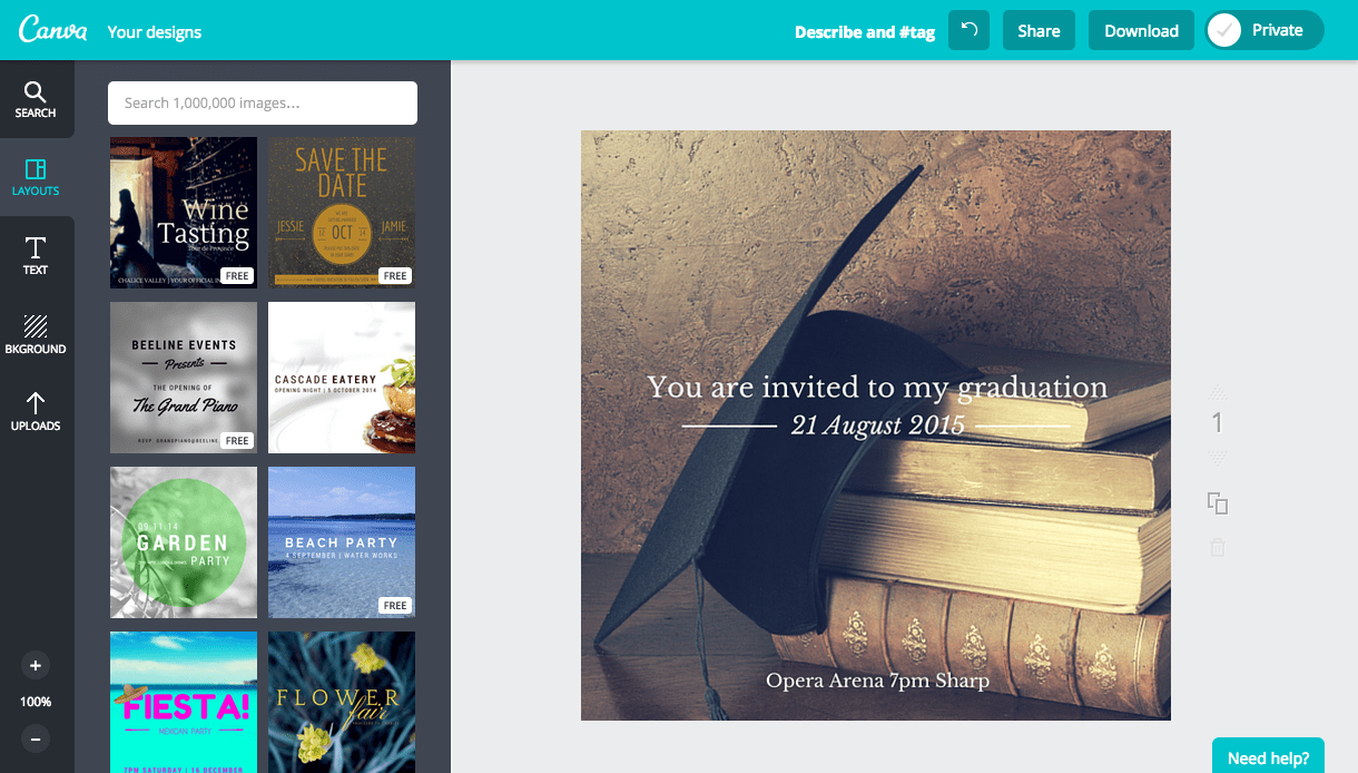 Design a graduation invitation in Canva