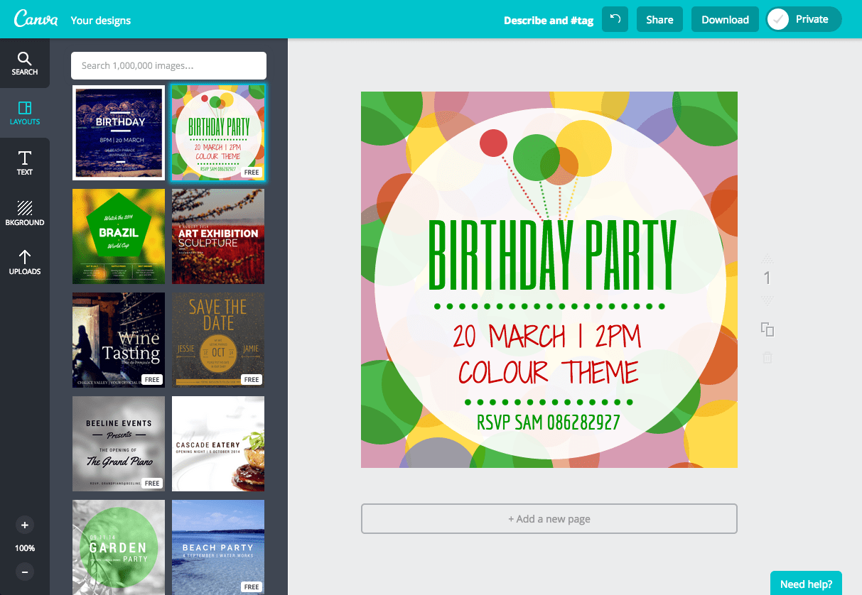 Create a Birthday Invitation in Canva