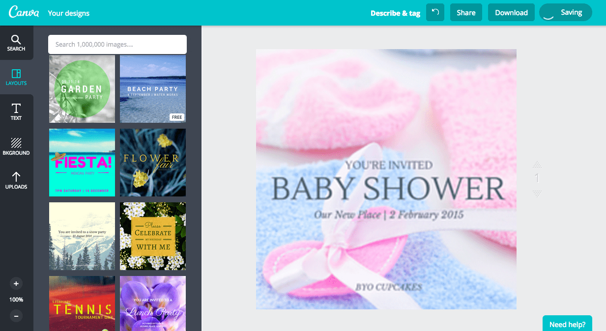 Create a baby shower invitation in Canva