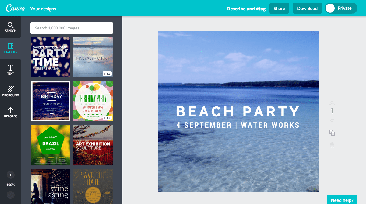 Create a party invitation in Canva