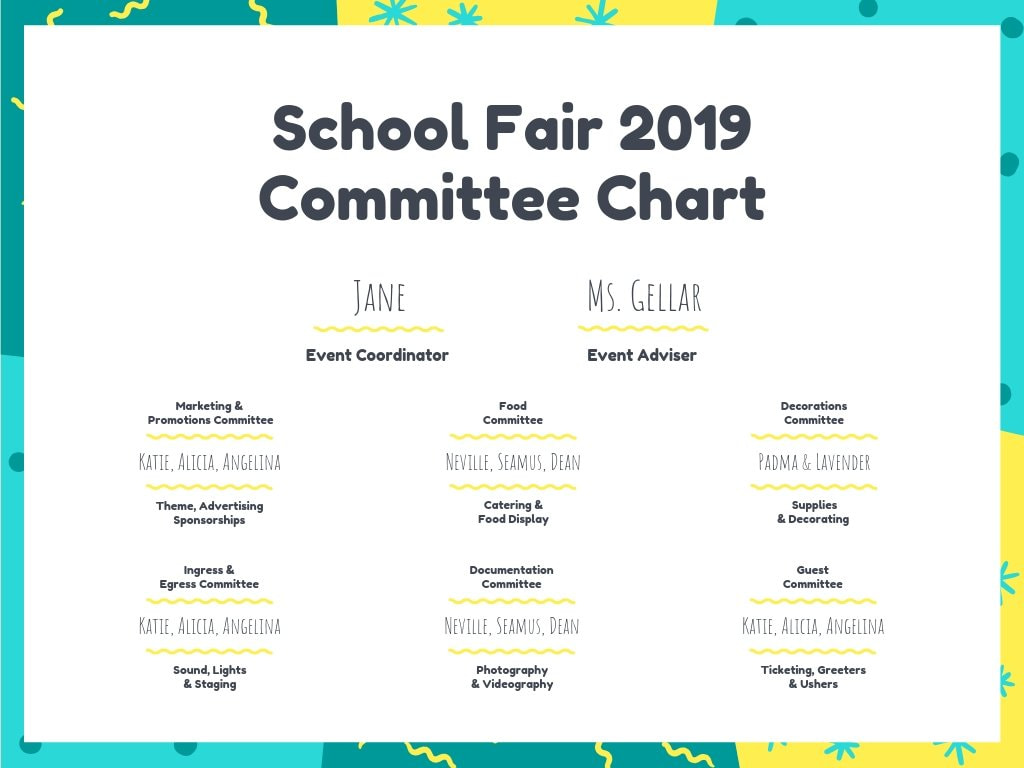 School Event Planning Committee Chart