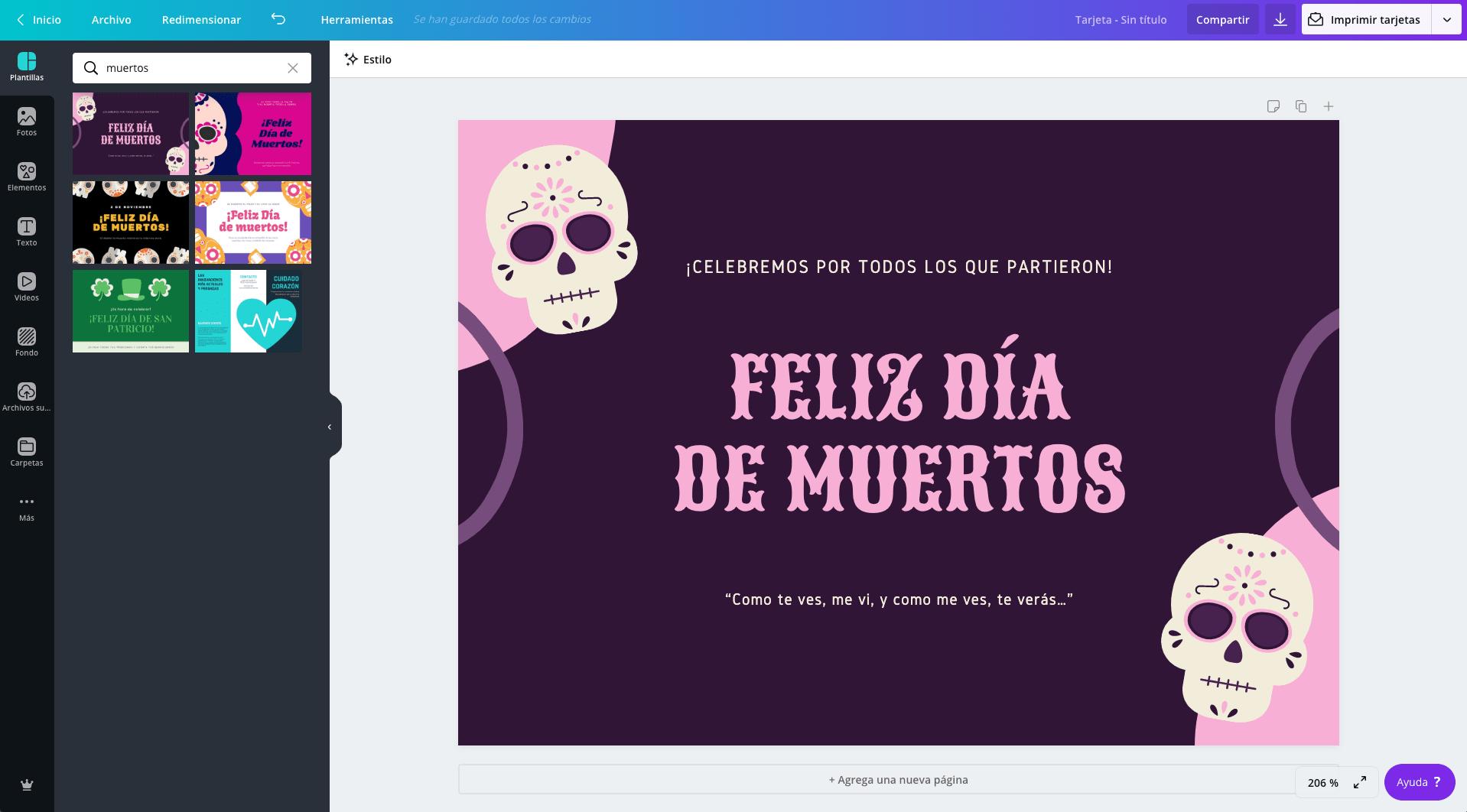 Tarjetas del Día de los Muertos