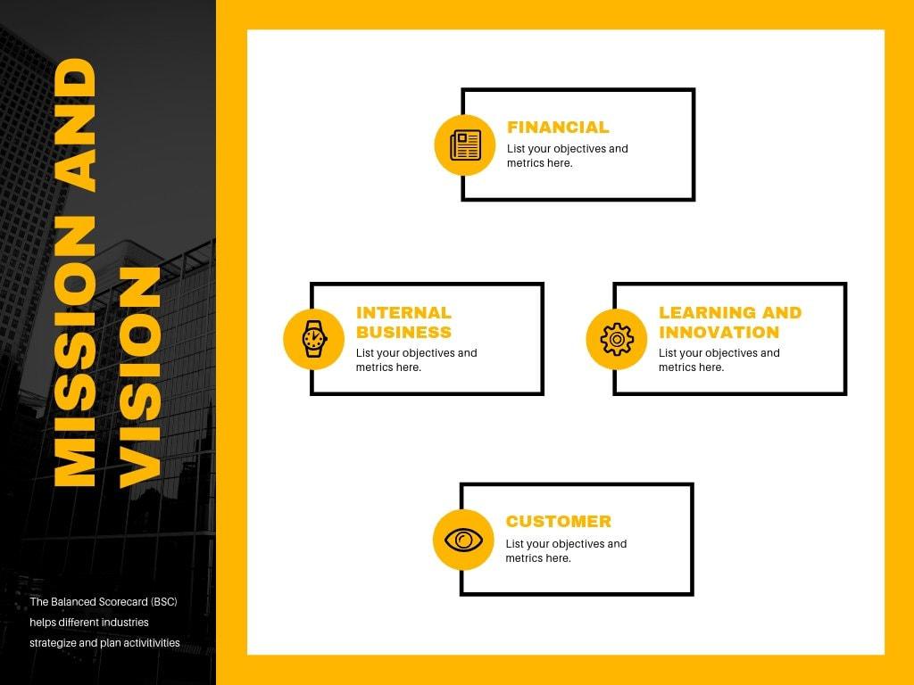 Yellow Black Photo Balanced Scorecard Chart