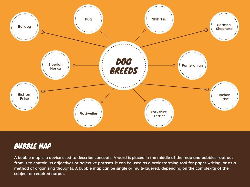 Orange and Brown Bubble Map Chart