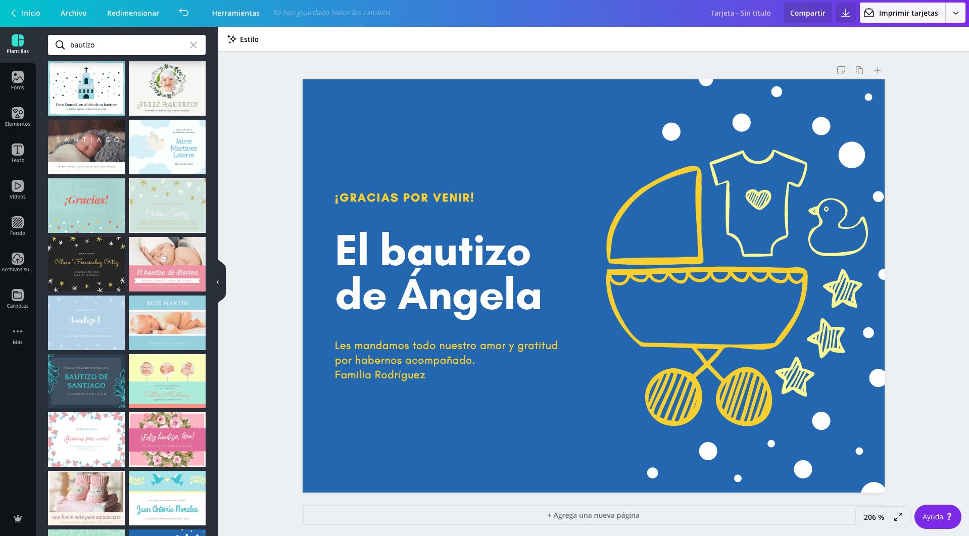 Diseña Tarjetas Para Bautizo Online Gratis Canva