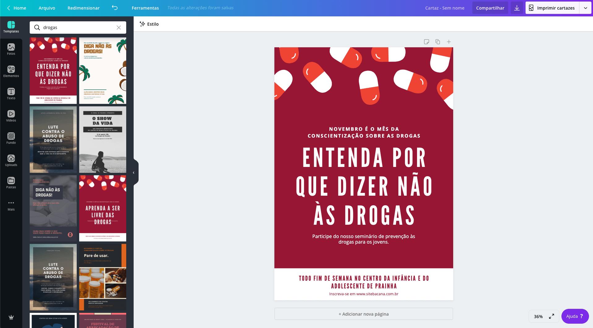 Cartaz para sobre drogas