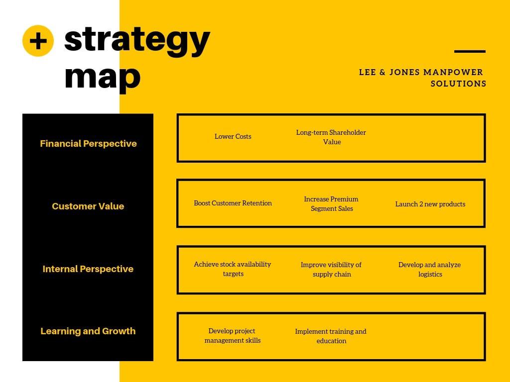 Yellow Black Simple Minimalist Strategy Map Chart