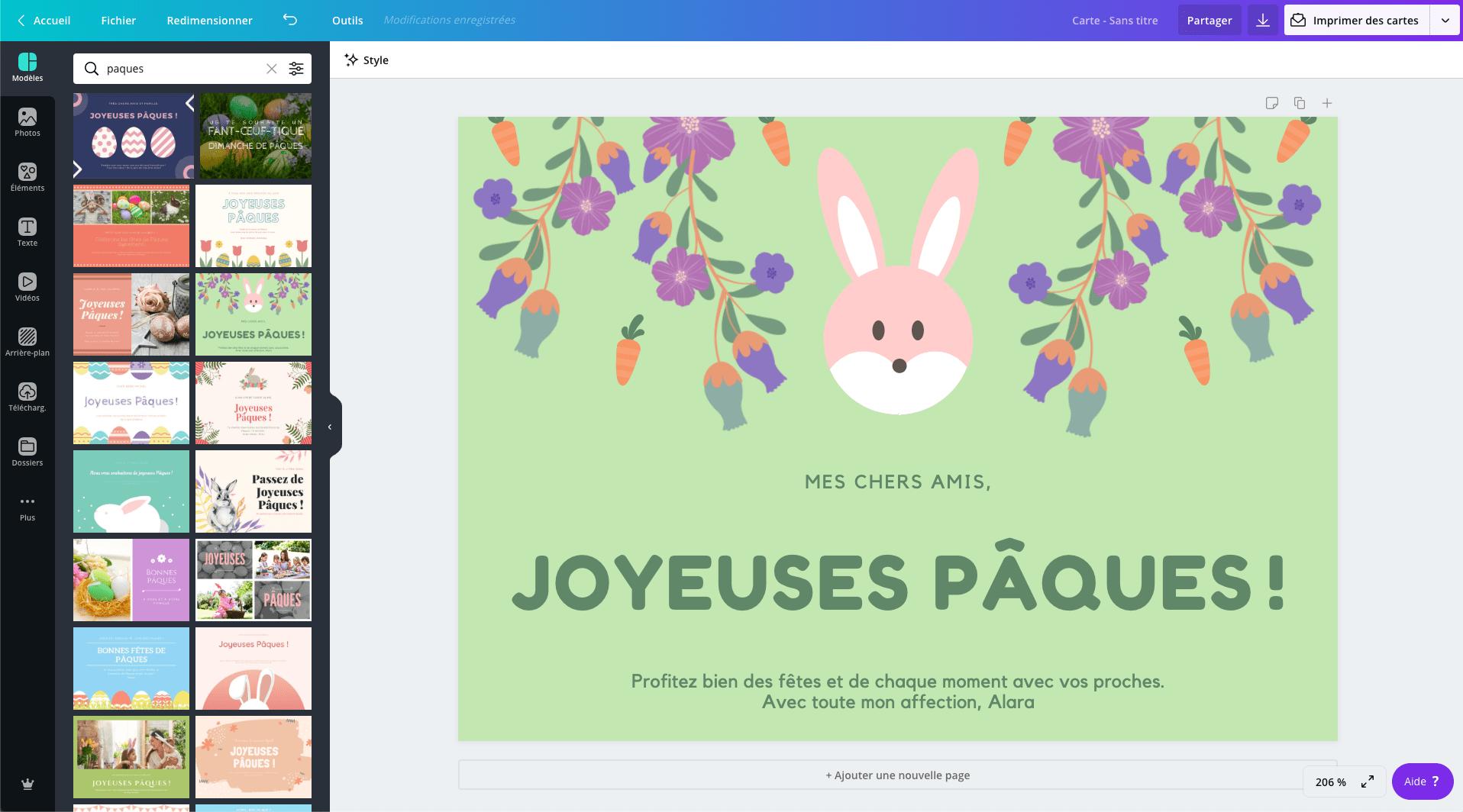 Carte de Pâques