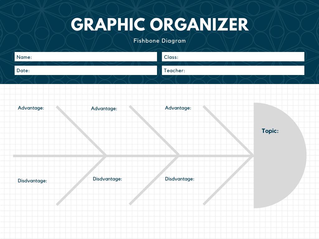 Dark Blue and White Grid Fishbone Graphic Organizer