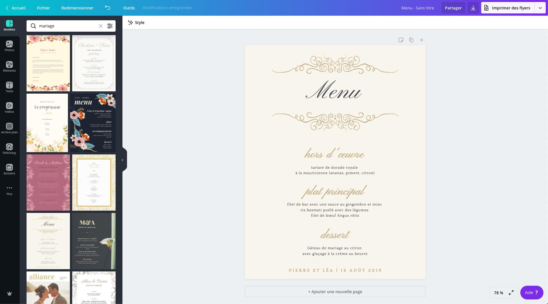 Carte De Menu De Mariage Gratuit A Imprimer Canva