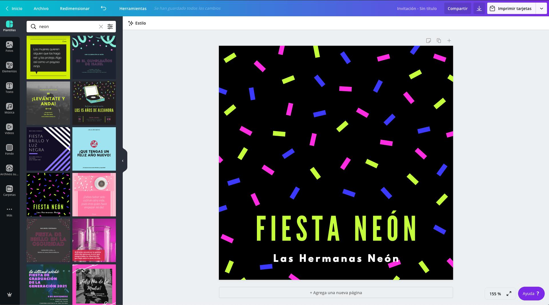 Invitaciones para neon party