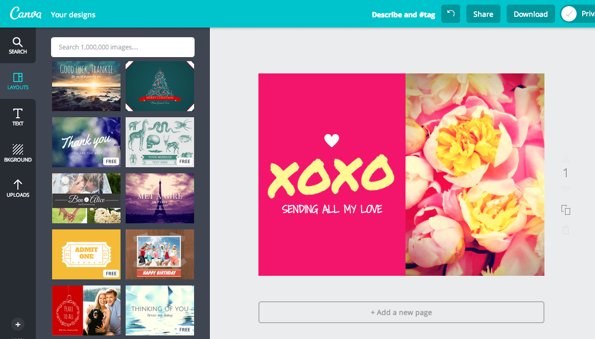 Create a card design in canva