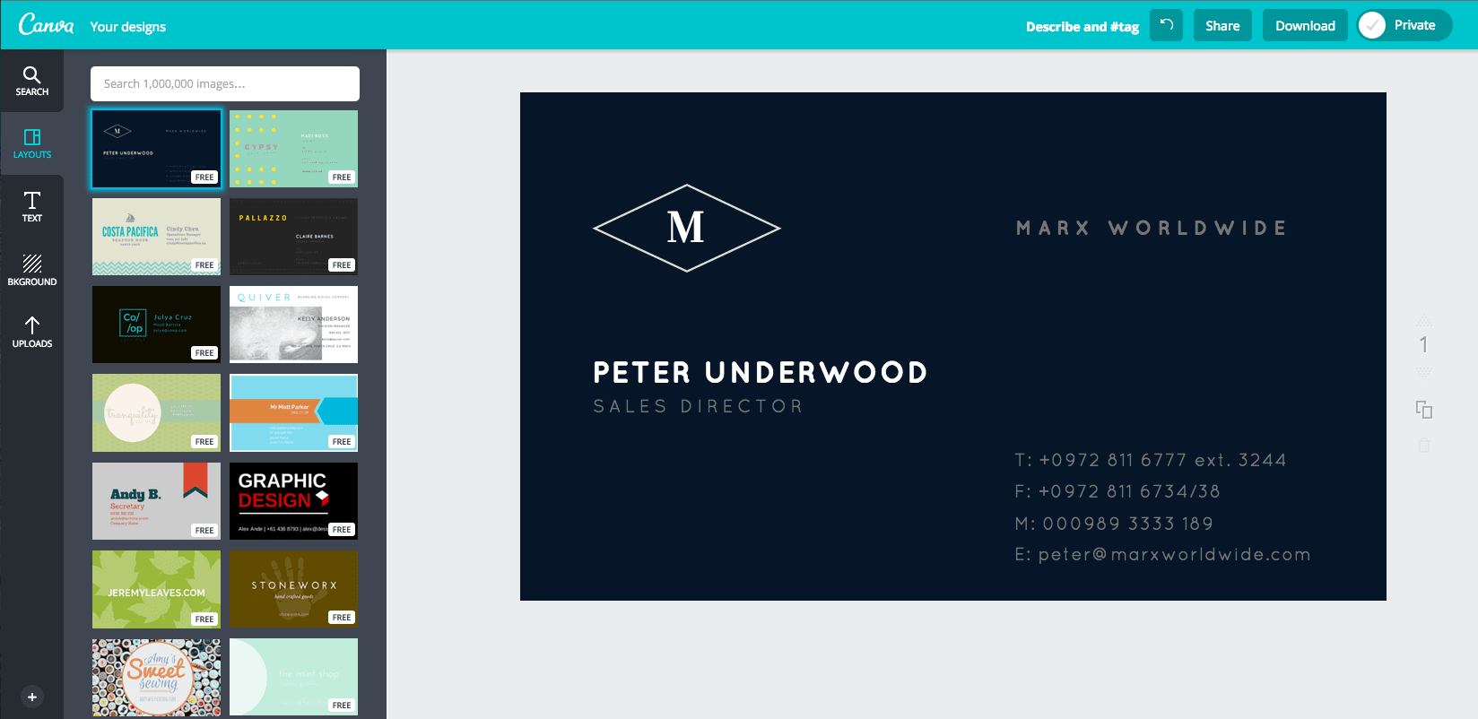 Create a business card in Canva