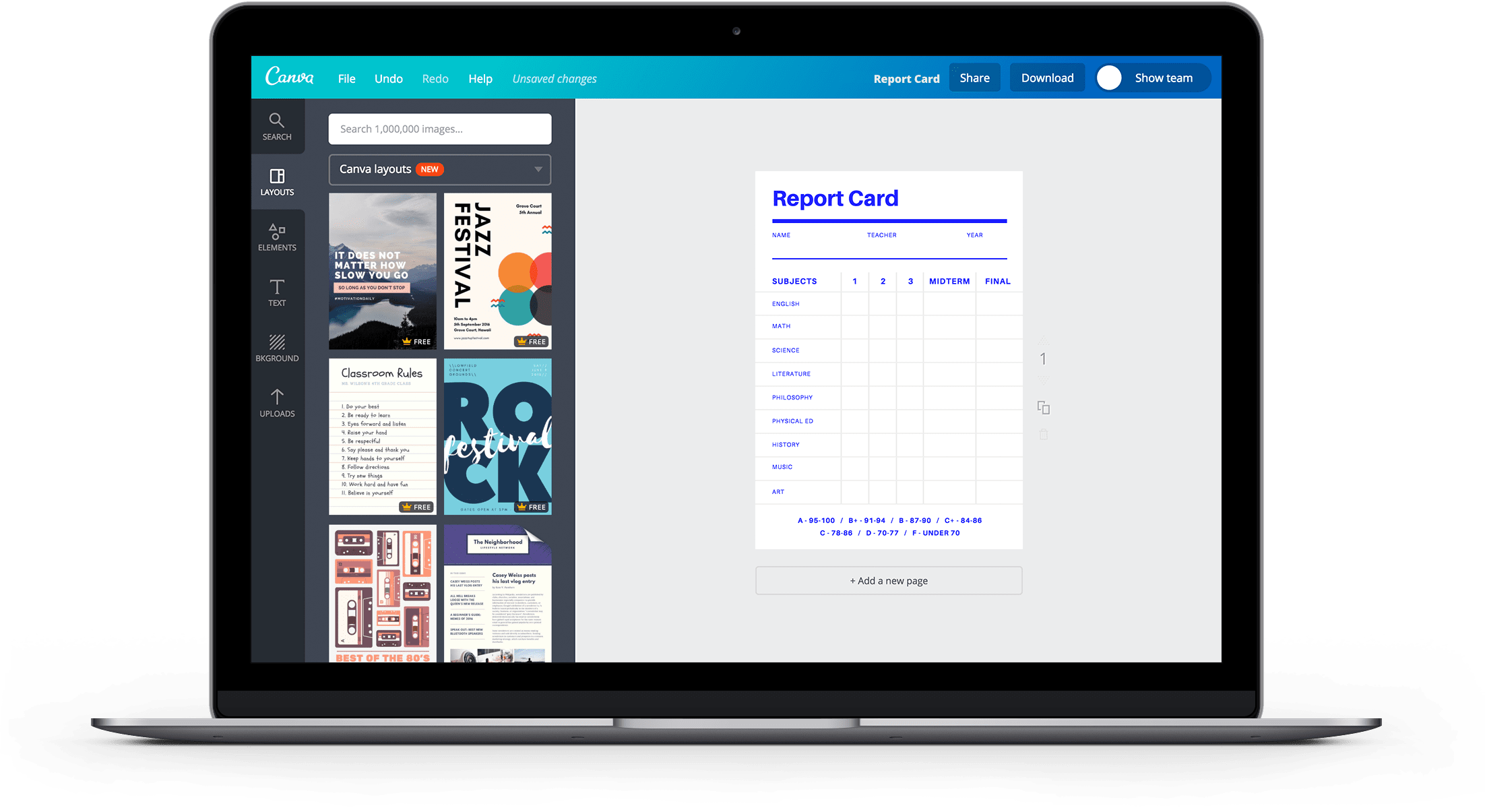 Report Card Landing Page