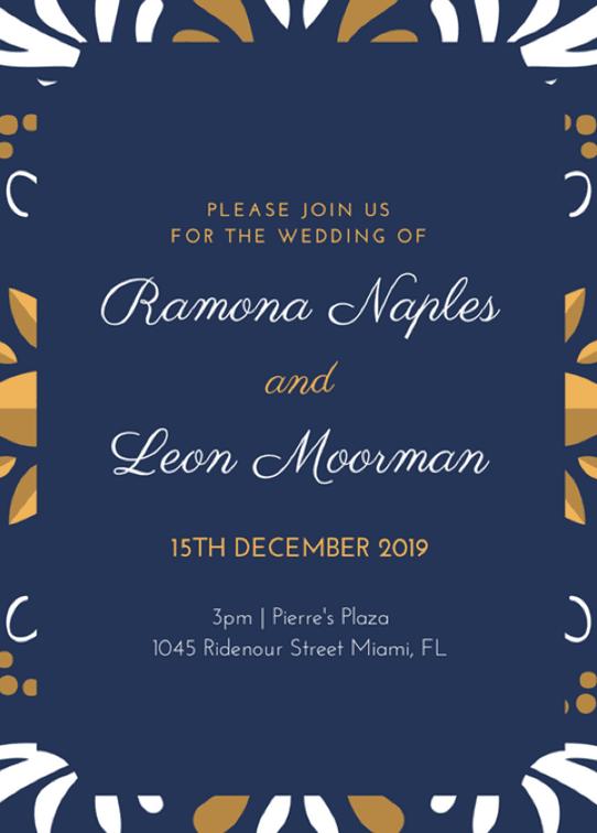 Canva Printで作成した冬の結婚式招待状