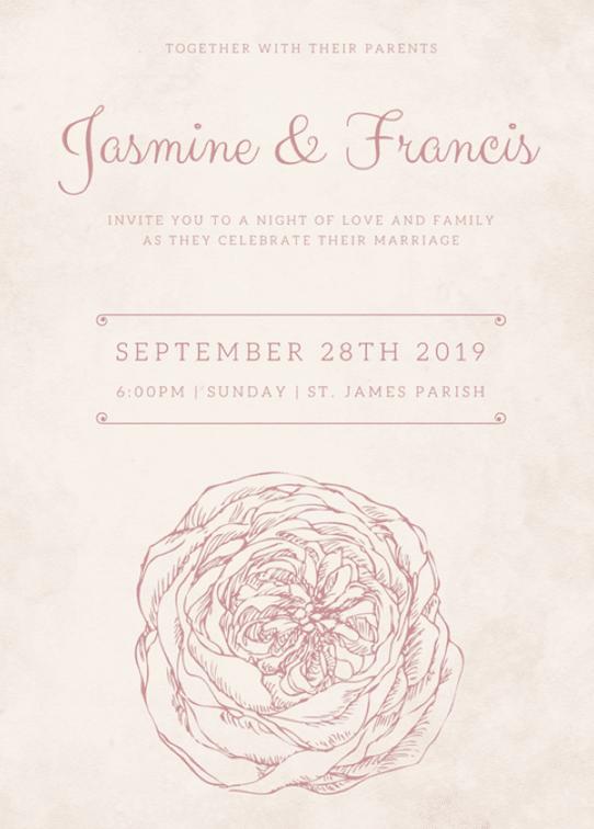 Canva Printで作成した格調高い結婚式招待状