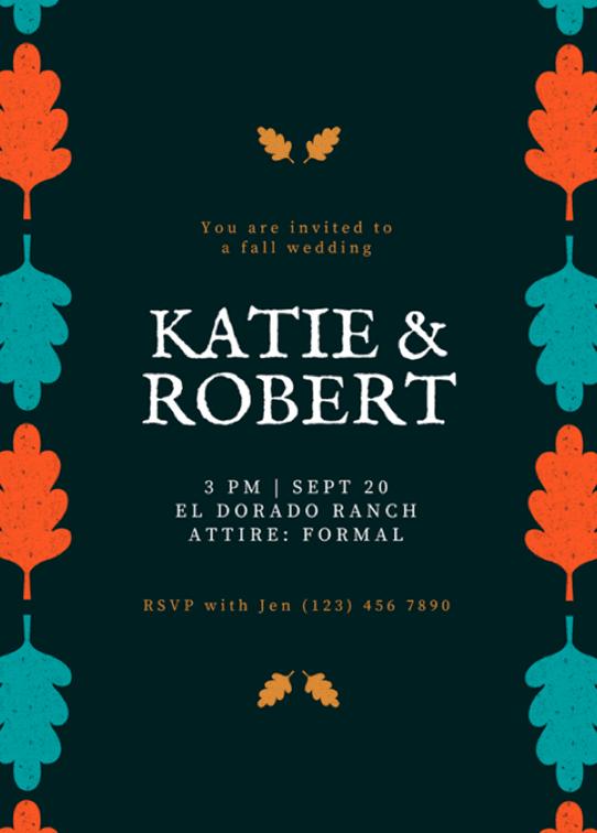 Canva Printで作成した秋の結婚式招待状