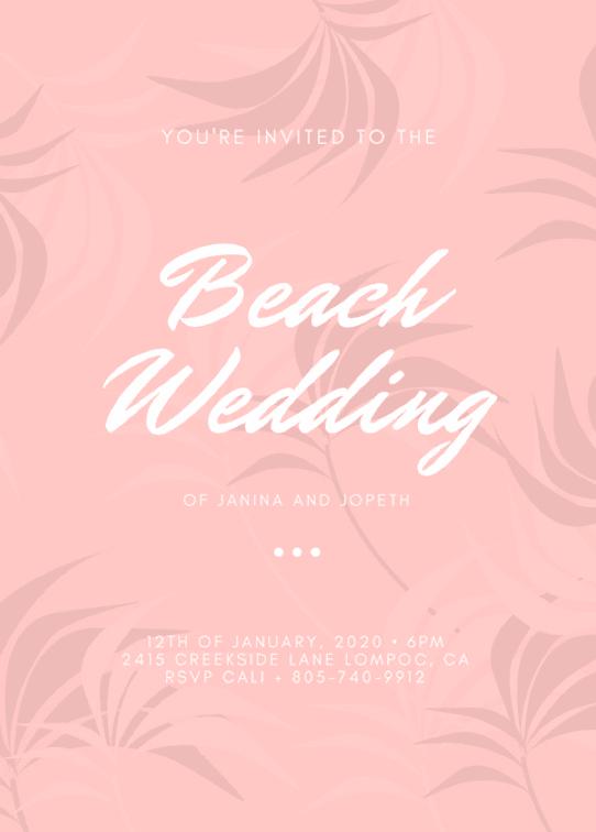 Canva Printで作成したビーチウェディングの招待状